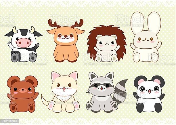Set of cute baby animals in kawaii style vector id602315000?b=1&k=6&m=602315000&s=612x612&h=w0svdrazeescn84ekedjshun21cldq dhzeqlofle8a=