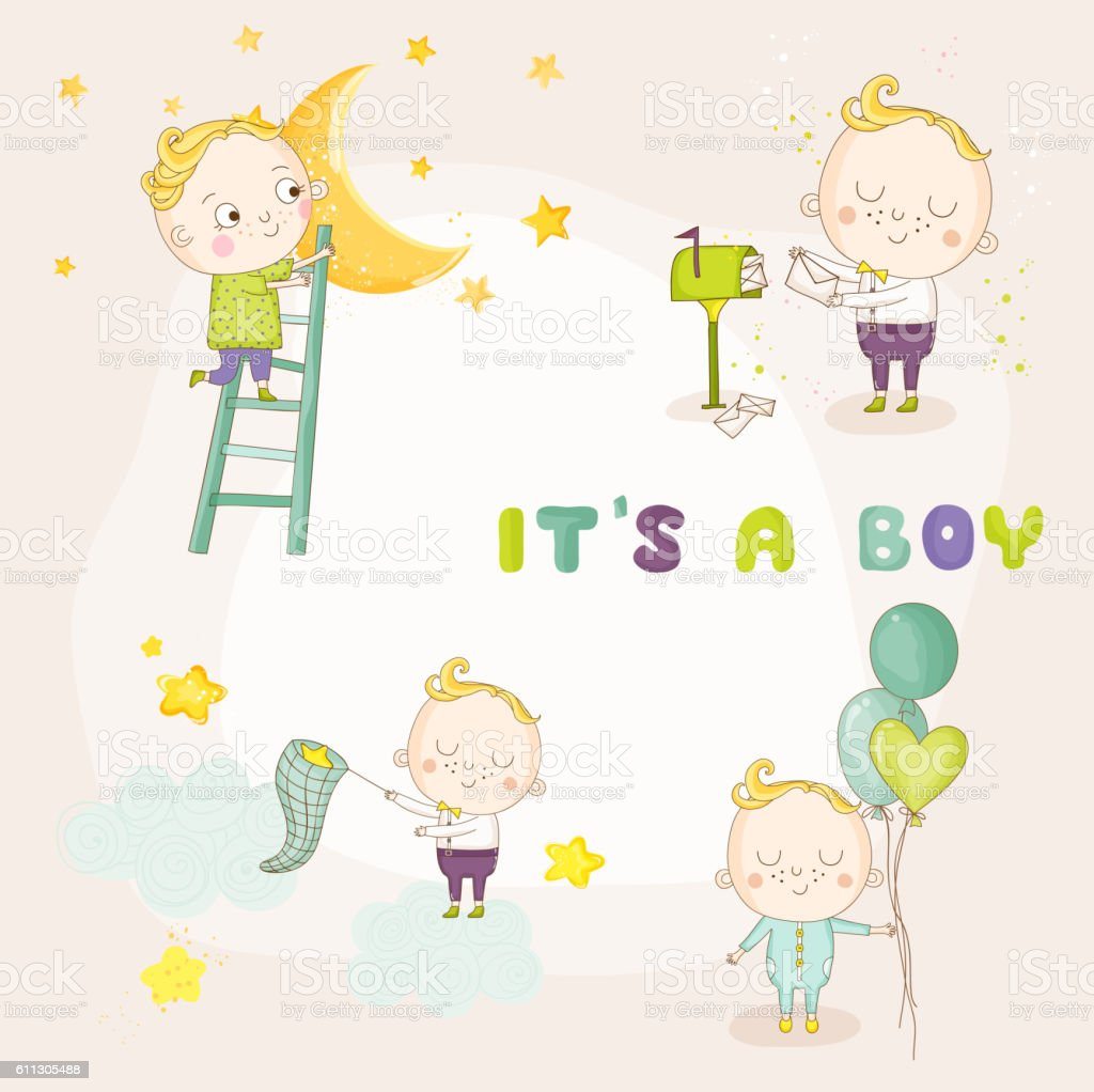 set of cute baby boy illustrations for baby shower card royalty free set of cute