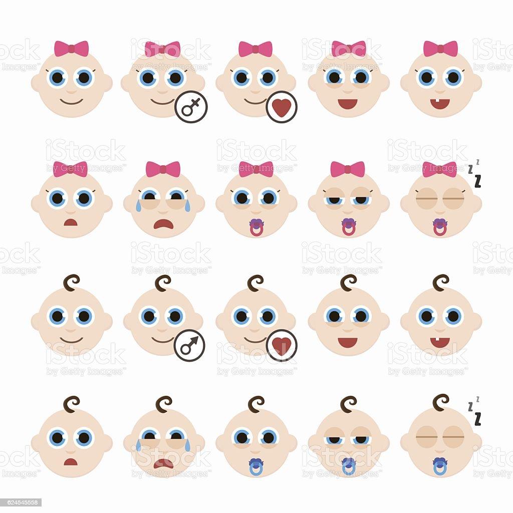 Set of cute baby emoticons. vector art illustration