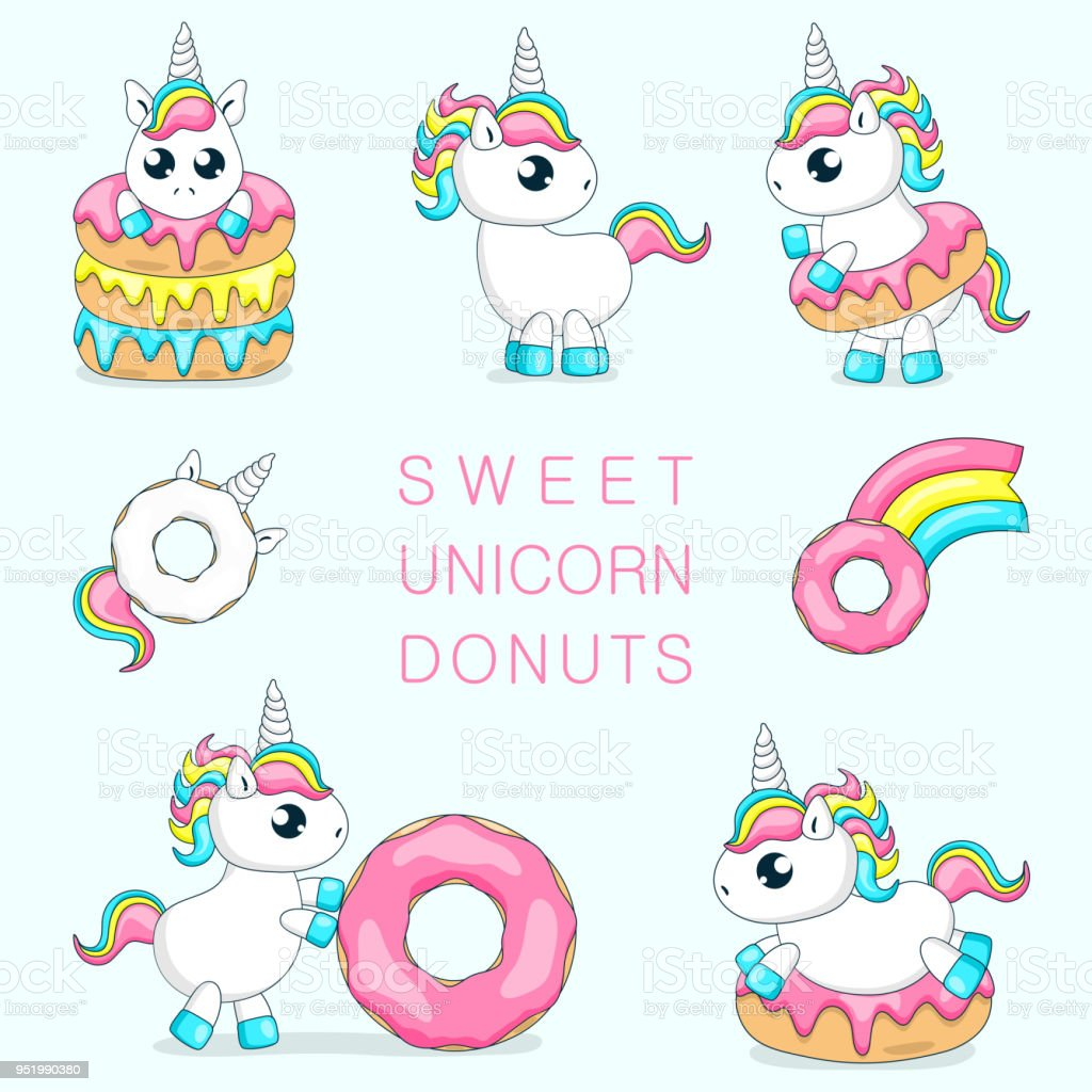 Set Of Cute Baby Unicorns Playing With DonutsVector Illustration Royalty Free