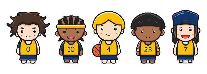 Set of cute basketball player cartoon icon vector illustration