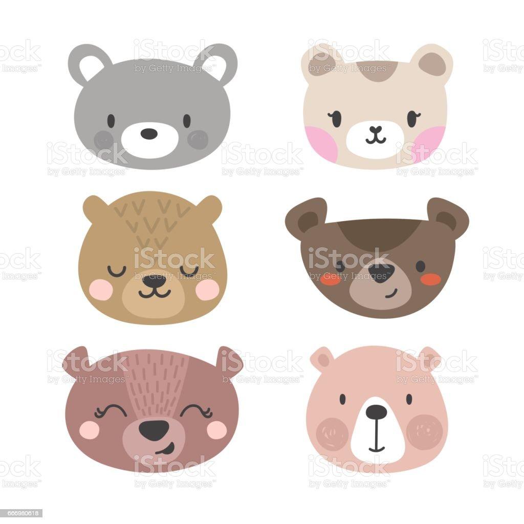 かわいいクマのセットです面白い落書き動物漫画のスタイルの小さな熊