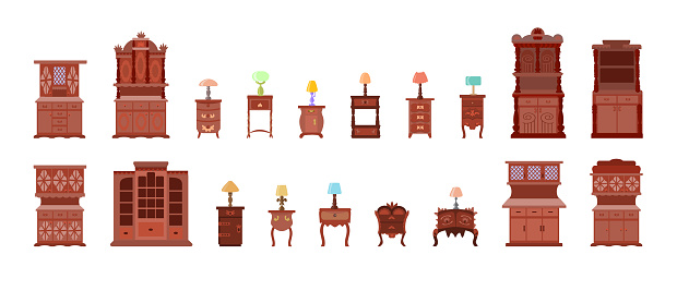 Set of cute bedside tables, cabinets, chests of drawers with electric table lamps, isolated on a white background.Collection of antique furniture and lamps for the bedroom, office. Vector illustration
