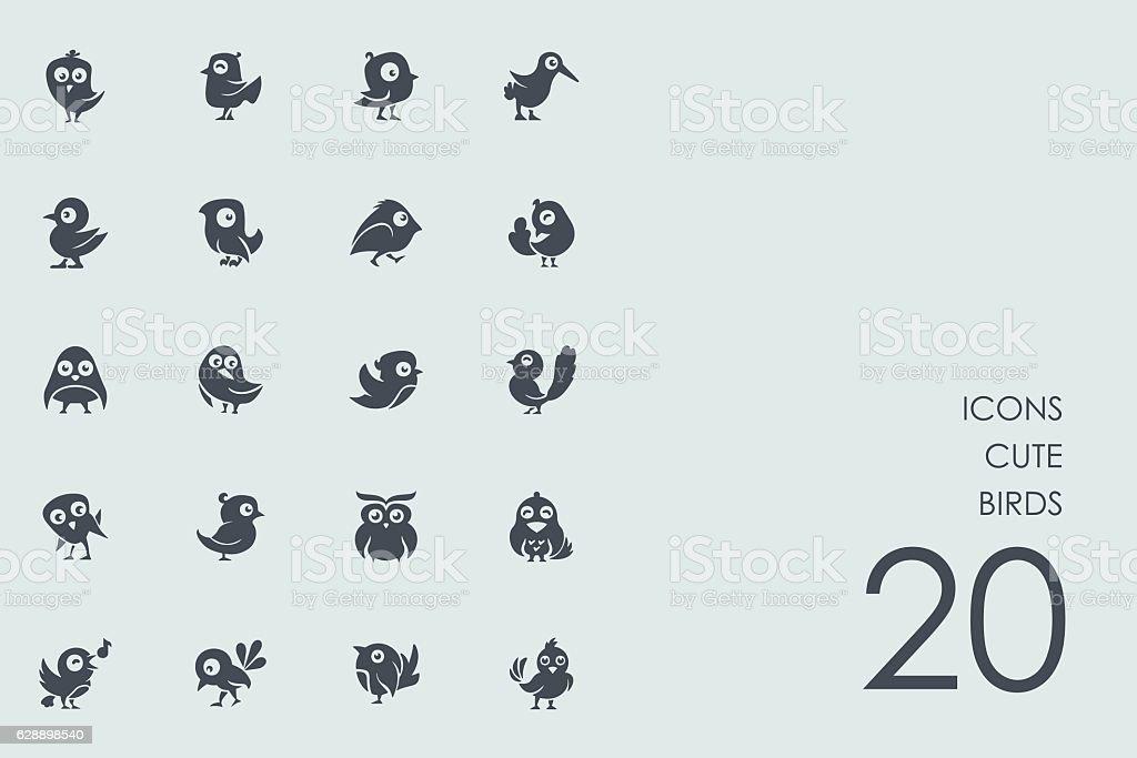 Set of cute birds icons vector art illustration