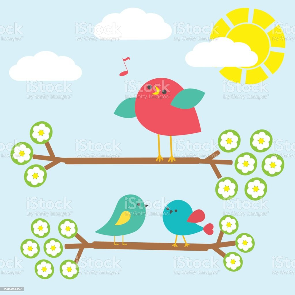 Set of cute birds on springtime branches vector art illustration