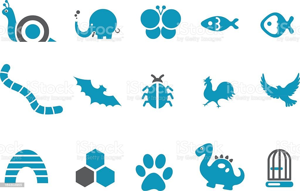 Set of cute blue animal icons in white background vector art illustration