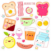 Breakfast time. Set of cute food icons in kawaii style with smiling face and pink cheeks for sweet design. EPS8