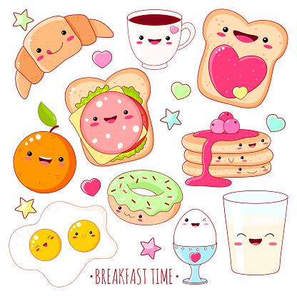 Set of cute breakfast food  icons in kawaii style