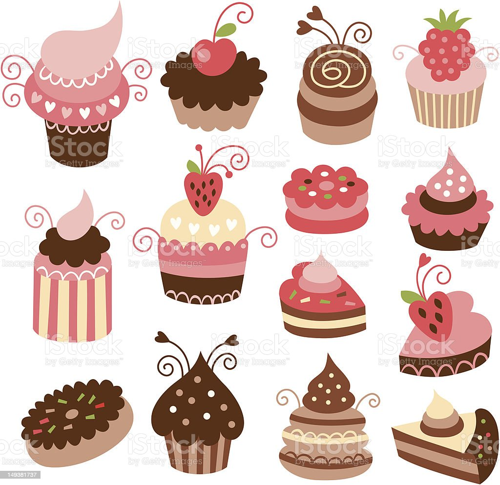 set of cute cakes royalty-free stock vector art