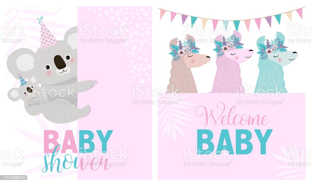 Set of cute cards for Baby Shower with fun animals. Editable vector...