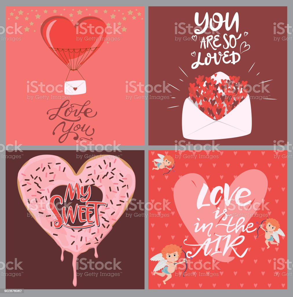 Set Of Cute Cards With Romantic Style For Valentines Day Save The