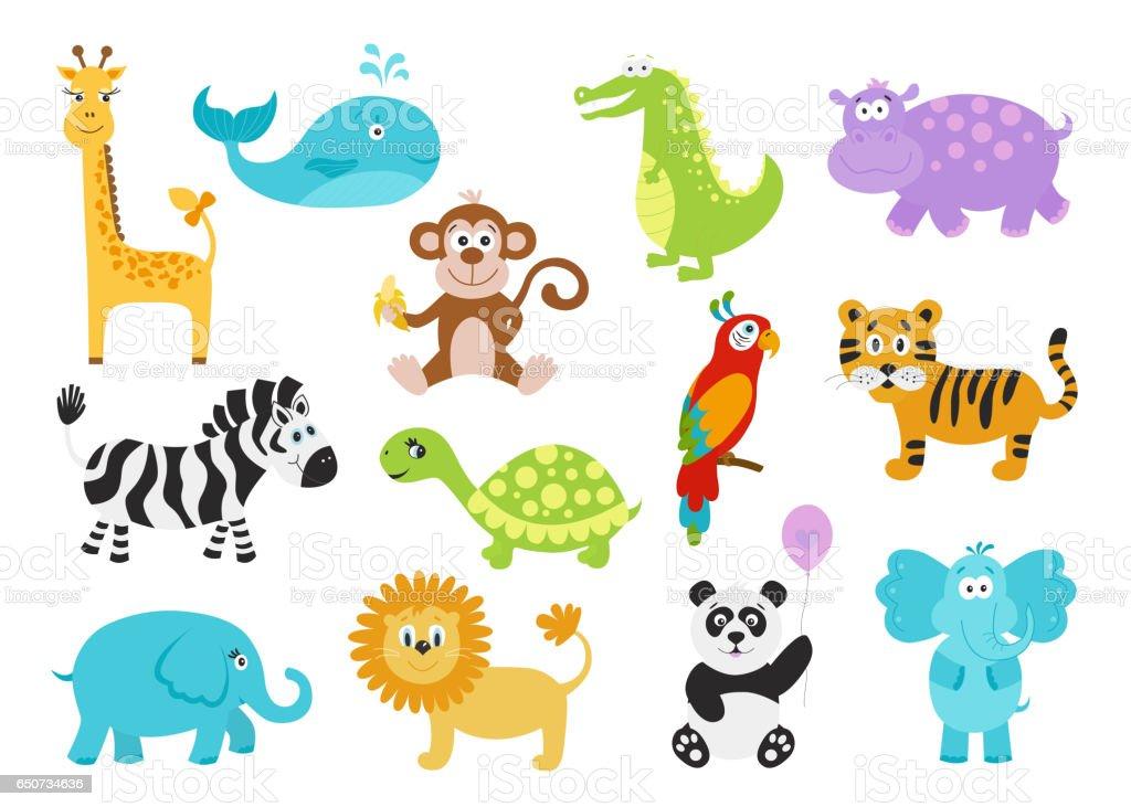 Sevimli çizgi Hayvanlar Bebek Giysileri Alfabe Kartları Için Kümesi