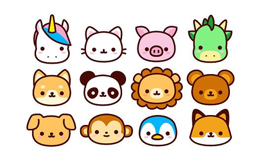 Set Of Cute Cartoon Animals Isolated
