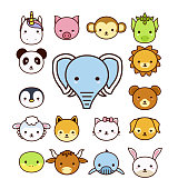 Set of cute cartoon animals on white background.