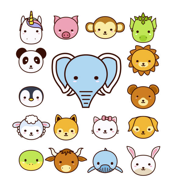 set of cute cartoon animals on white background. - kiss stock illustrations