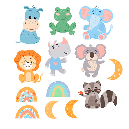 Set of cute cartoon animals, rainbows and moons in vector graphics, isolated on white background. For the design of postcards, posters, banners, covers, prints for mugs, t-shirts