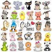 Set of Cute Cartoon Animals on a white background
