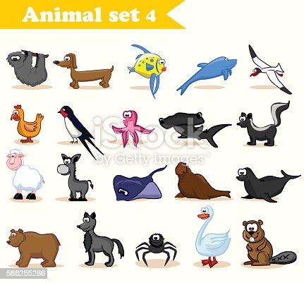 Сartoon animals including birds, wild animals, sea animals and pets