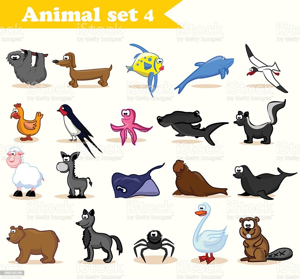 Set of cute cartoon animals vector art illustration