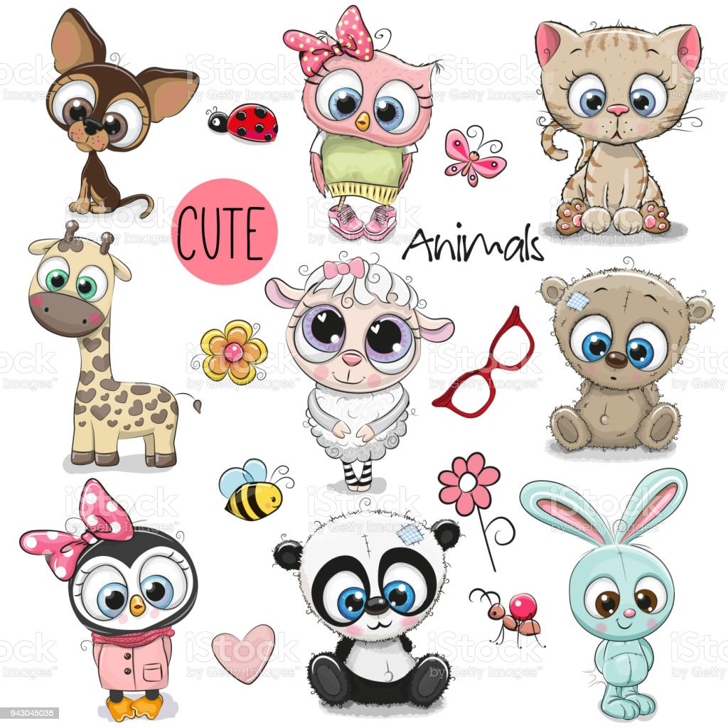 Set Of Cute Cartoon Animals Stock Illustration - Download ...