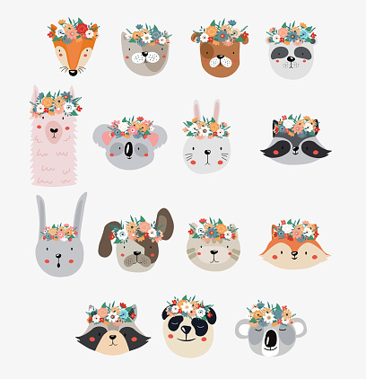 Set of cute cartoon animals with flower crowns