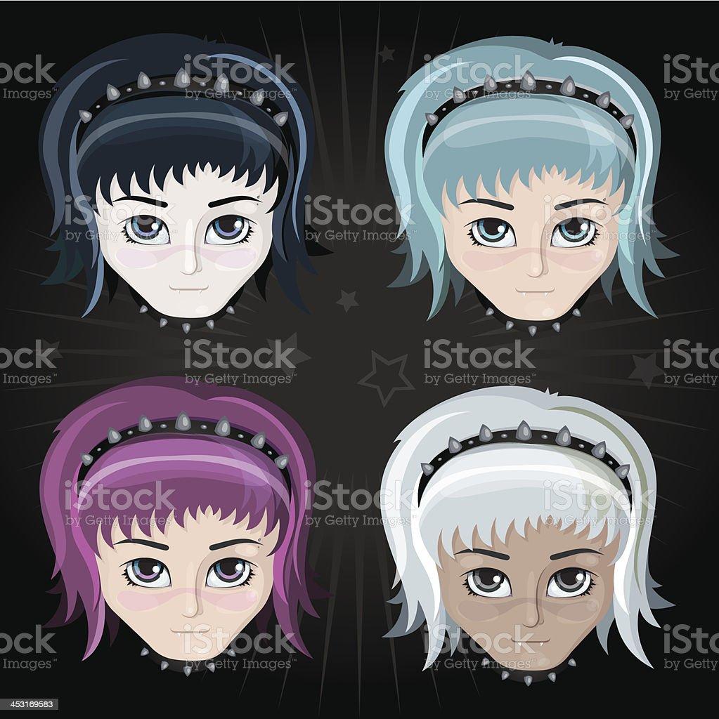 Set of cute cartoon anime girls vector art illustration