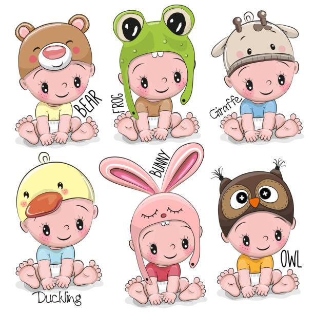 satz von niedlichen cartoon-babys - giraffenkostüm stock-grafiken, -clipart, -cartoons und -symbole
