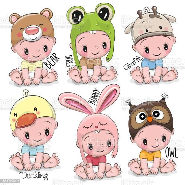 Set Of Cute Cartoon Babies Stock Illustration Download Image Now Istock