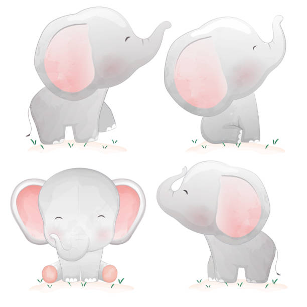 set of cute cartoon baby elephants. - baby animals stock illustrations