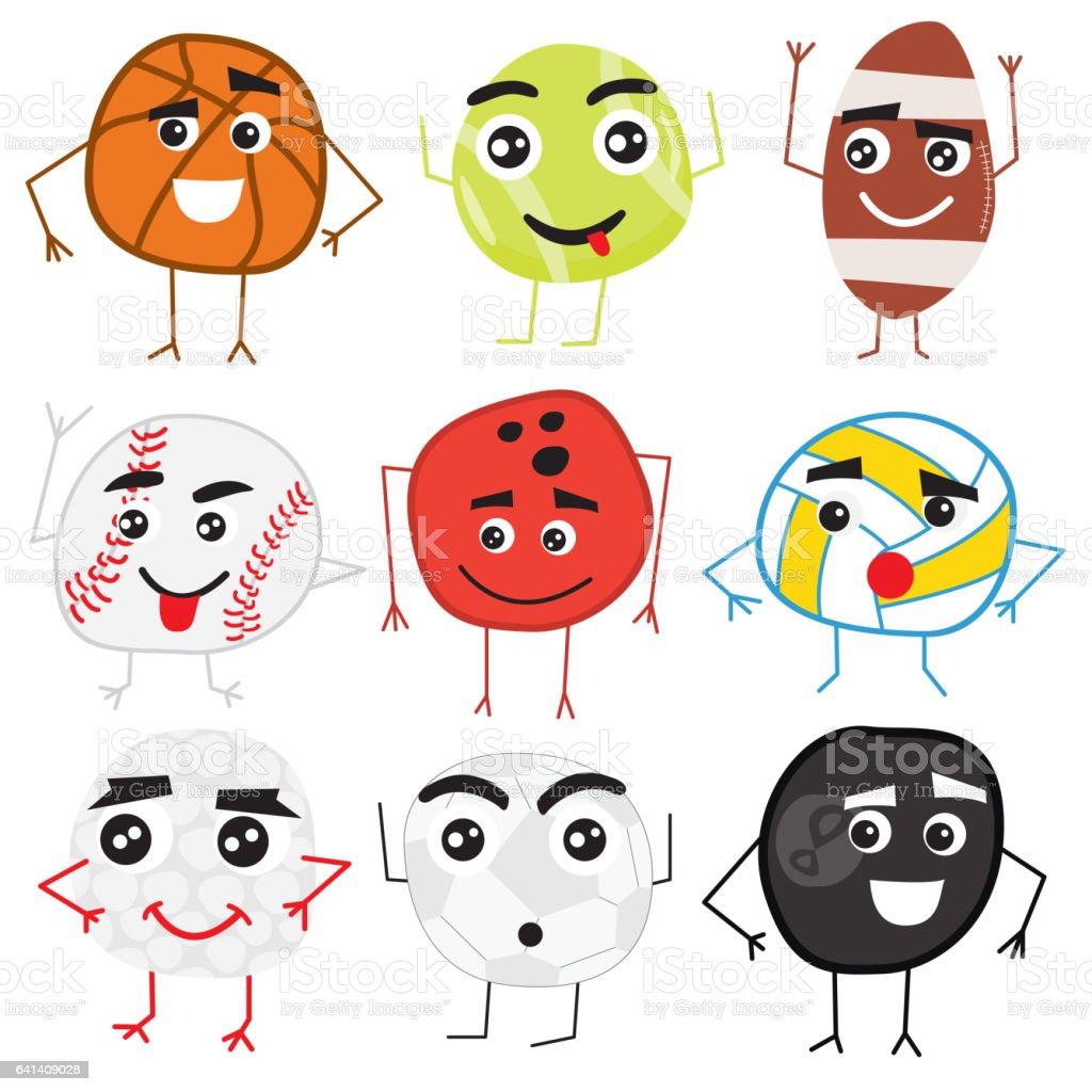 Set of Cute Cartoon Balls Characters. vector art illustration