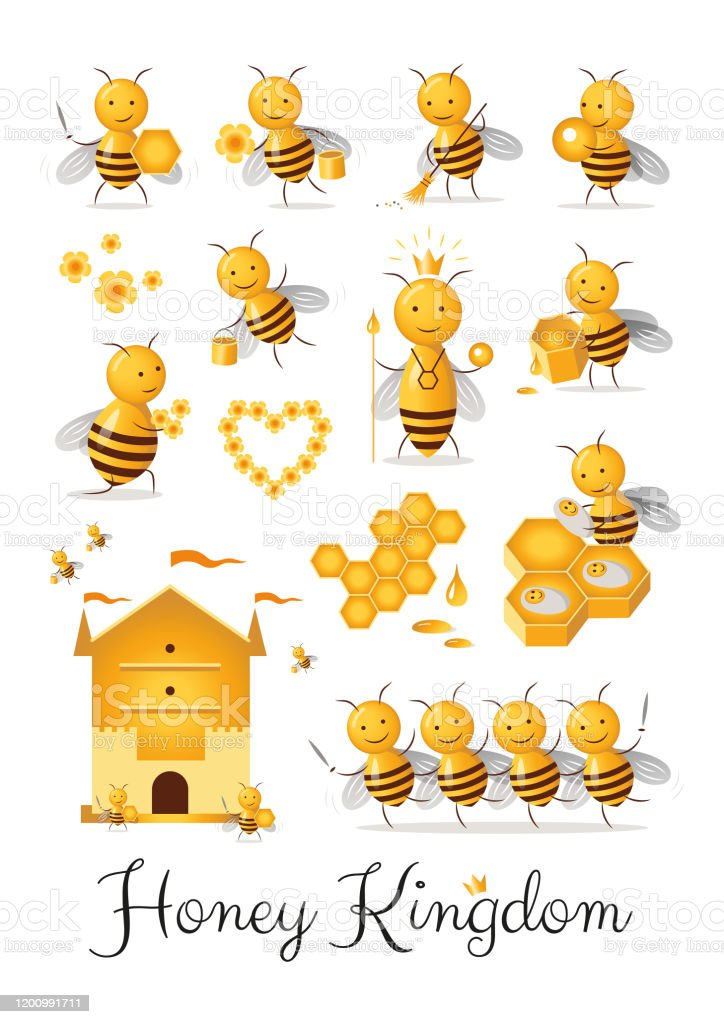 Set of cute cartoon bee castes characters collection honey kingdom clipart - Royalty-free Animal stock vector