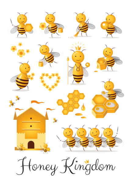 Set of cute cartoon bee castes characters collection honey kingdom clipart vector art illustration