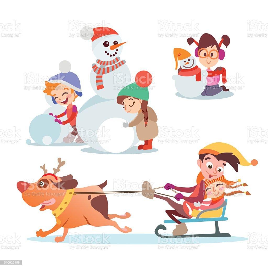 Ilustración De Conjunto De Dibujos Animados Lindo Niños Y Niñas