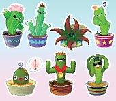 Set of cute cartoon cactuses in pots