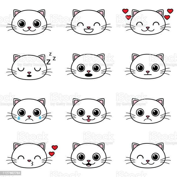 Set of cute cartoon cat emoticons vector id1127862764?b=1&k=6&m=1127862764&s=612x612&h=9 keank5ikxhzn m4u9rhzyau5dnlq3k5siyd9nrop8=