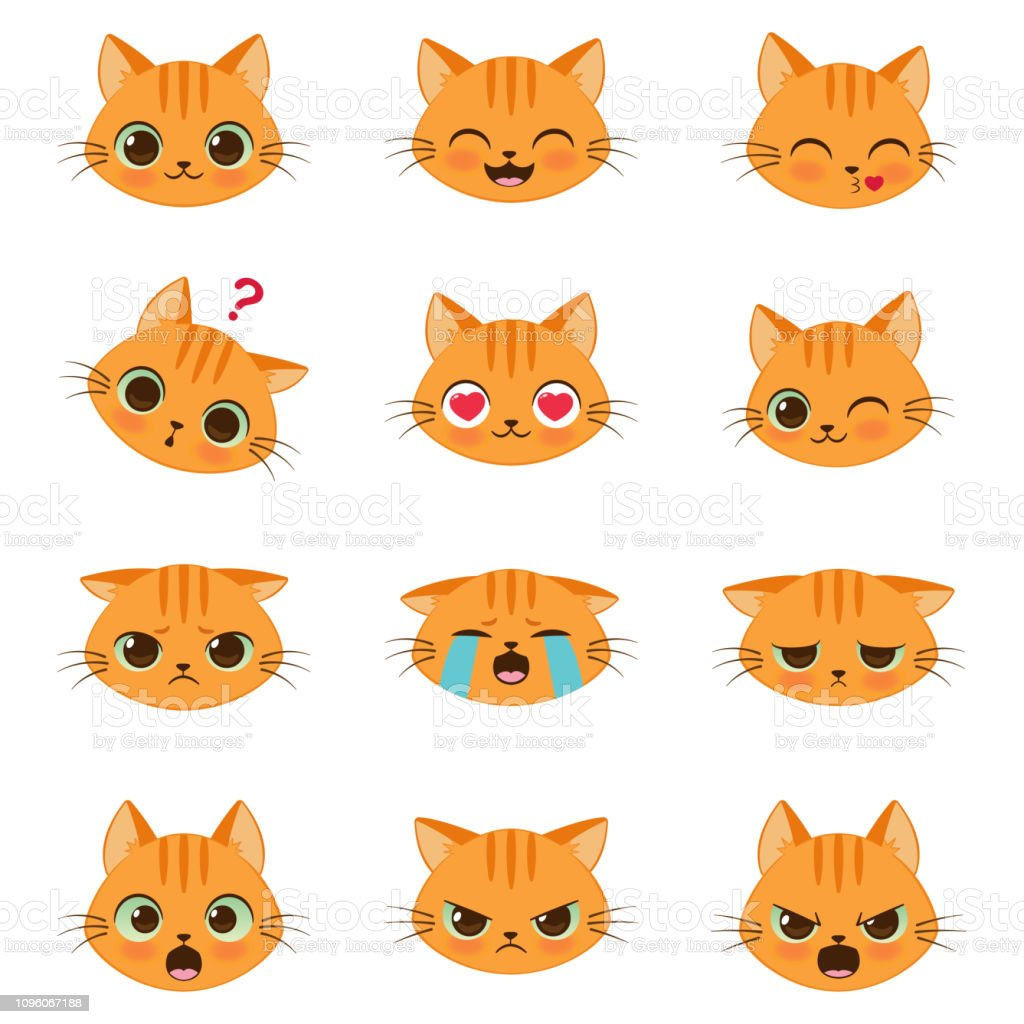 Set Of Cute Cartoon Cat Emotions Stock Illustration Download Image Now Istock