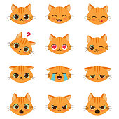 Set of cute cartoon ginger cat with various emotions