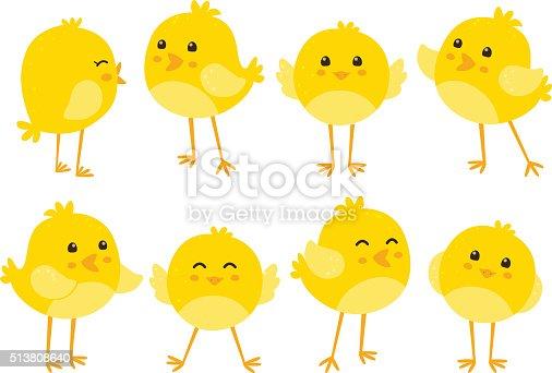 istock Set of cute cartoon chickens 513808640