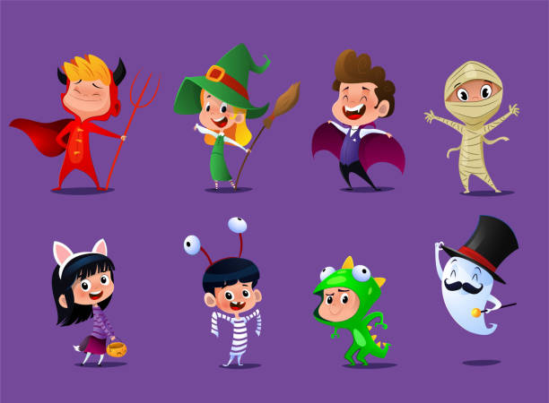 Set of cute cartoon children in colorful halloween costumes Set of cute cartoon children in colorful halloween costumes:witches,dragula,mummy,some reptile, kitty, prisoner, Satana and one real ghost. Vector illustration ghost icon stock illustrations
