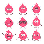 Set of cute cartoon colorful monster emotions. Funny emoticons emojis collection for kids. Fantasy characters. Vector illustrations, cartoon flat style.