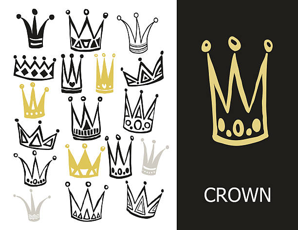 set of cute cartoon crowns. hand drawing vector background. vector - prince stock-grafiken, -clipart, -cartoons und -symbole