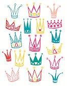 Set of cute cartoon crowns.   Vector illustration.