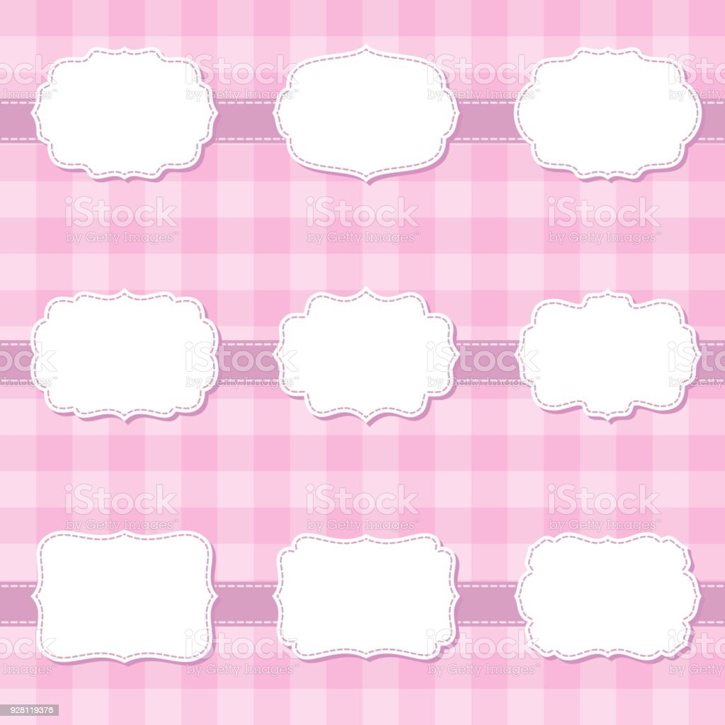 set of cute cartoon decorative sewing blank frames shape labels for