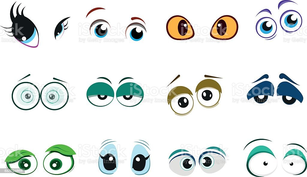 Set of cute cartoon eyes with different emotions. vector art illustration