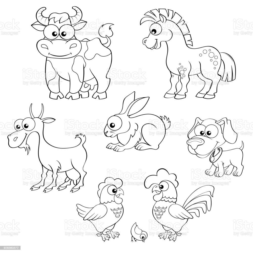 Ilustración de Conjunto De Dibujos Animados Lindo De Animales De ...