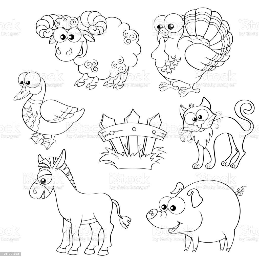 Sevimli çizgi çiftlik Hayvanları Kümesi Koyun Hindi ördek Kedi Eşek