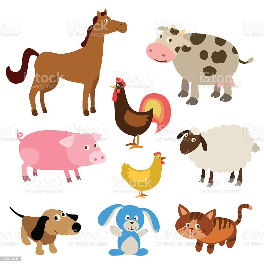 set of cute cartoon farm animals