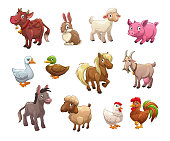 Set of cute cartoon farm animals. Isolated icons on white background. Vector illustration.