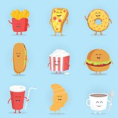 Set of cute cartoon fast food characters.