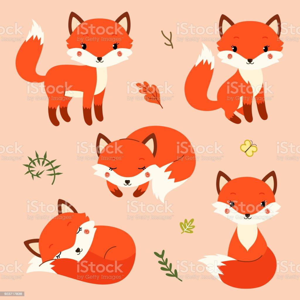 Conjunto de dibujos animados lindo zorros en moderno estilo plano simple. - ilustración de arte vectorial